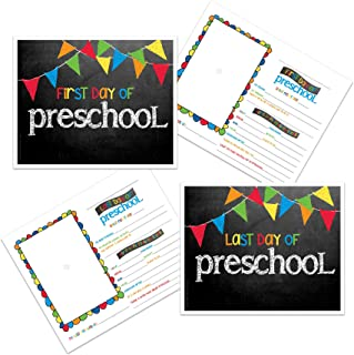 Preschool First & Last Day of School Photo Prop Sign - Primary Pennant Flags Chalkboard Design