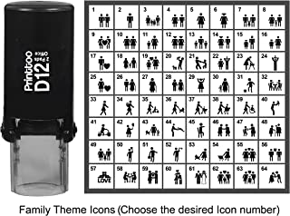 Printtoo PersonalizedFamily Theme IconsRubber Stamp Self Inking Stamper 12 mm-Black