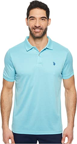Classic Fit Interlock Heather Solid Polo Shirt