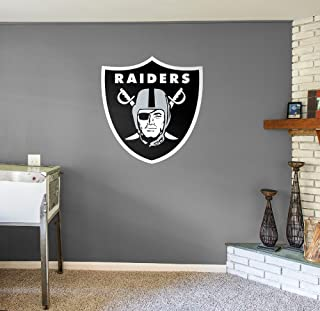 Fathead NFL Oakland Raiders Officially Licensed Logo Removable Wall Decal, Multicolor, Giant - 14-14025