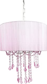 Tadpoles One Bulb Shaded Chandelier, Pink