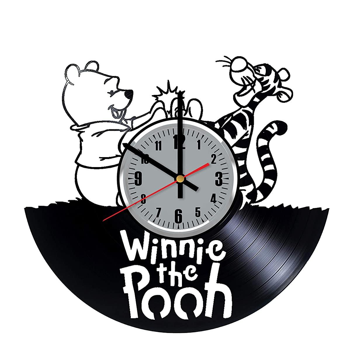 Winnie The Pooh and Tigger Vinyl Wall Clock - Art Handmade Wall Decor Made of Vinyl Record - Original Gift for Any Occasion