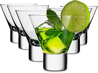 Mitbak 8-Ounce Martini Glasses (Set of 6)   Elegant Lead Free Reusable cocktail Cups   Great for Martini, Cocktail, Whiskey, Liquor, Margarita, Other Alcoholic Beverages   Made In Slovakia
