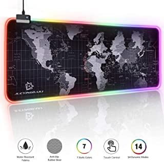 "RGB Gaming Mouse Pad - Large Led Mouse Mat, 2020 updated HD Map with Smoothly Waterproof Surface, Non-Slip Rubber Base, 31.5""X 11.8"" & 14 Light Modes"