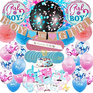 Baby Gender Reveal Party Supplies-Boy or Girl Banner-36 Inch Reveal Balloon Pom Poms-Blue & Pink Confetti Balloons-Photo Props-Cupcake Toppers-Foil Balloons-Mommy To Be Sash
