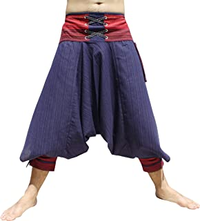 RaanPahMuang Ankle Cuff Textured Cotton Kyoto Pants with Hanging Pocket