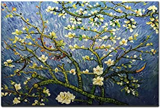 AMEI Art Paintings,24x36 Inch Hand-Painted Van Gogh Famous Oil Painting Almond Blossom Flower Canvas Wall Art Abstract Floral Artwork Modern Home Decor Art Wood Inside Framed Ready to Hang for B