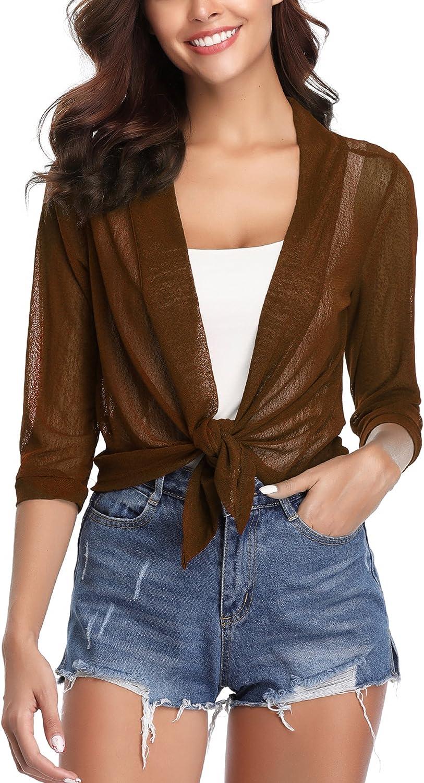 iClosam Womens Sheer Shrug Tie Front 3/4 Sleeve Cropped Bolero Cardigan