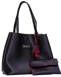 Bolsa Feminina Dhaffy Preto com Vermelho, Saco, Acompanha Necessaire. cor:vermelho;tamanho:G