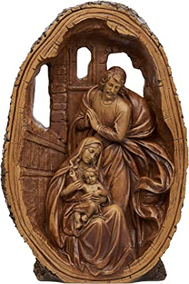 """Joseph's Studio by Roman - Nativity Holy Family Figure, Carved Wood Look, Renaissance Collection, 11"""" H, Resin and Stone, Tabletop or Desk Display, Decorative, Durable, Long Lasting"""