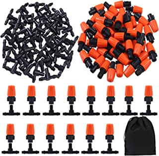Elcoho 100 Pieces Garden Irrigation Misting Nozzles Sprinkler Heads with 4/7mm Pipe Barbed Tee Connectors (100)