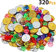 HEHALI 320pcs Pirate Toys Gold Coins and Pirate Gems Jewelery Playset, Treasure for Pirate Party (160 Coins+160 Gems) (Gold)