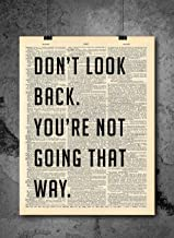 Don't Look Back Quote Dictionary Art Print – Vintage Dictionary Print..