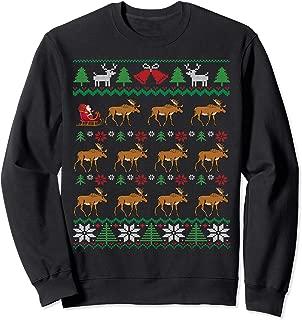 Moose Pulling Santa's Sleigh   Moose Lover Ugly Christmas Sweatshirt