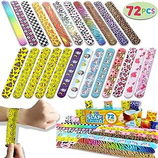 Joyin Toy 72 PCs Slap Bracelets Party Favours Pack (24 Designs) with Colourful Hearts Animal Emoji Prints