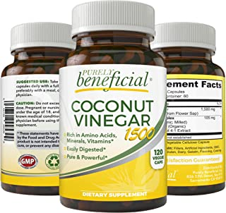 Organic Coconut Vinegar Capsules – Powerful Apple Cider Vinegar Alternative, Nutrient Dense from Coconut Sap, Rich in Minerals, 17 Amino Acids, Low Glycemic, Keto-Athlete-Diet Friendly, 120 Capsules
