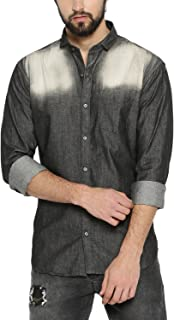 Campus Sutra Men's Tie-Dye Regular Fit Casual Shirt (AZ18SHRT_F2SHD_M_PLN_BLCR_AZ_XL)
