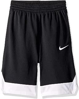 Boy's Icon Basketball Shorts, Boy's Athletic Shorts with Side Pockets, Black/White/White, L