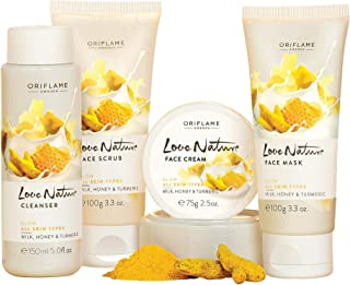Oriflame Love Nature Fairness/Brightening Facial Kit- Glow with Turmeric, Milk and Honey for All Skin Types and All Ages -...