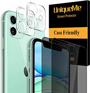 [4 Pack] UniqueMe 2 Pack Tempered Glass Privacy Screen Protector +2 Pack Tempered Glass Camera Lens Protector 9H Hardness ...