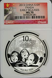 2013 Chinese 1oz Silver Panda Coin - Certified Perfect S10Y MS70 - Exceptional Strike - The Perfect Coin - Early Release NGC