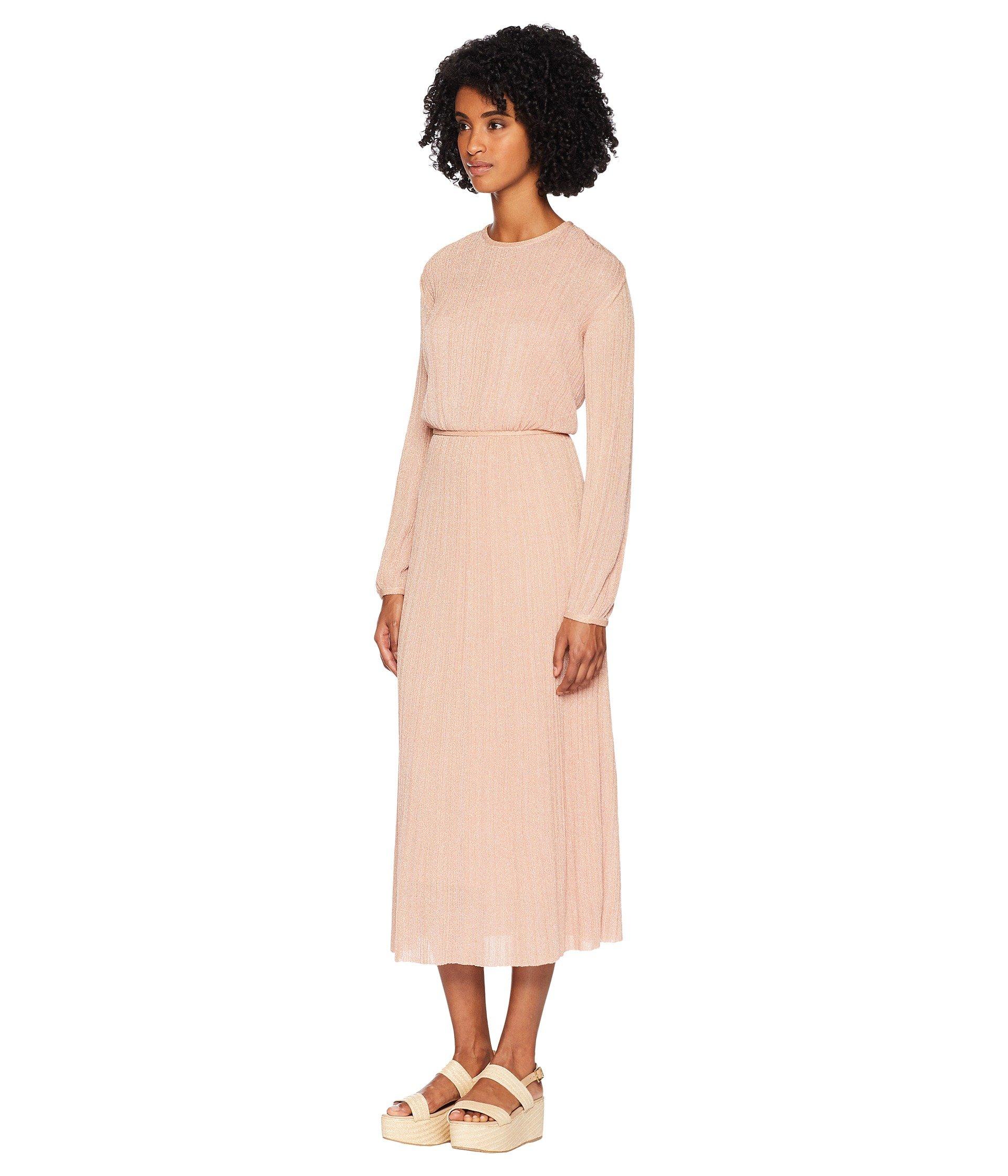 M Missoni Dress Blush Long Plisse Lurex Solid Sleeve fnfqFprW