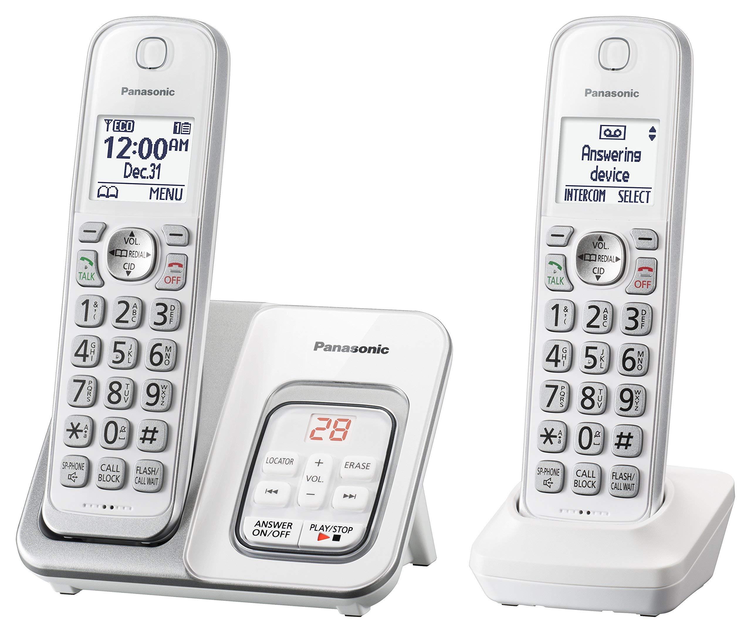 Amazon Com Panasonic Kx Tgd532w Cordless Phone With Answering Machine 2 Handsets Renewed Office Products