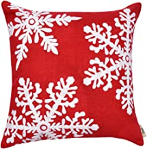 Firet Christmas Pillow Case Cover, 18 x 18 Embroidery Home Decorative Cotton Linen Cushion Cover Snowflake