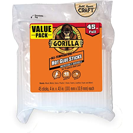 Gorilla 3034518 Hot Glue Sticks, 4 in. Full Size, 45 Count, 1-Pack