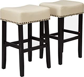 Christopher Knight Home Chantal Backless Beige Linen Counter Stools with Brass Nailhead Studs, Set of 2