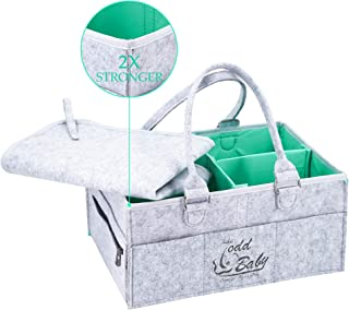 Baby Diaper Caddy Organizer Changing Mat Set Waterproof | Nursery Storage Bin for Wipes, Lotions,Toys | Portable Car Storage Basket | Changing Table Organizer | Baby Registry Gift Basket (Turquoise)