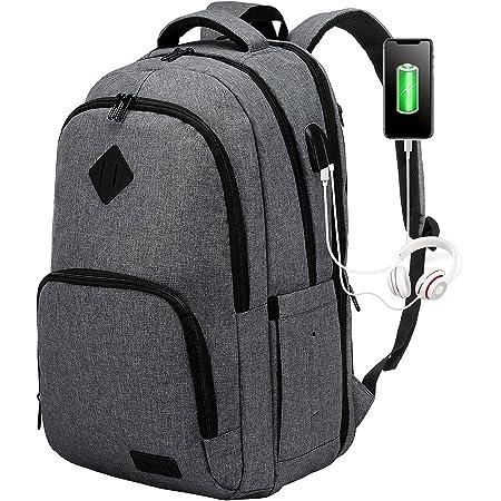 LOVEVOOK Rucksack Herren Damen Groß für 17,3 Zoll Laptop, Wasserdicht Schultasche Grau mit USB Ladeanschluss, Nylon Notebook Backpack Teenager für Arbeit Business Uni Schule