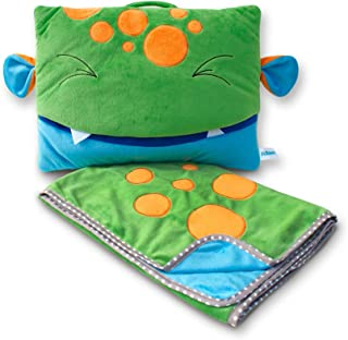 Pillowie - Kids Cute Travel Pillow and Blanket Set - Mom's Choice Award Winner - Portable Comfort Item for Children Pillow Toy & Blanket Set - Moss