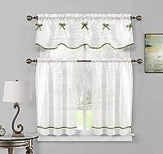 Home Maison - Carlee شبه شفاف مع ربطة عنق المطبخ و ستارة قصيرة   ستارة نافذة صغيرة للقهوة، الحمام، الغسيل، غرفة النوم - (أ...