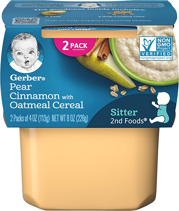 Gerber 2nd Foods Pears Cinnamon With Oatmeal 2 Count 3 5 Ounce Containers Pack Of 8