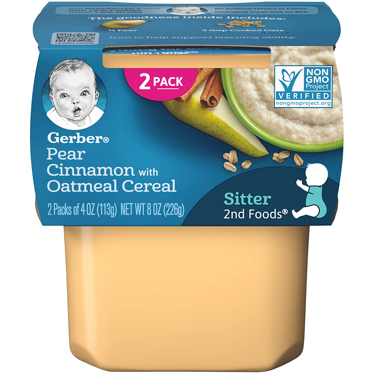 Gerber 2nd Foods, Pears & Cinnamon with Oatmeal Pureed Baby Food, 4 Ounce Tubs, 2 Count (Pack of 8)