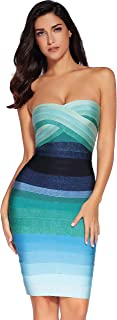 Women's Bandage Straless Dress Bodycon Rainbow Party Dress