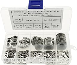 Boeray 250pcs 304 Stainless Steel Flat Washers M2 M2.5 M3 M4 M5 M6 M8 M10 Assortment kit