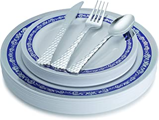 100 Piece Royal Blue Silver Disposable Plastic Plates & Plastic Silverware Set Heavyweight Place Setting Service For 20 Guests Includes 20 Dinner Plates 20 Dessert Plates 20 Forks 20 Spoons 20 Knives