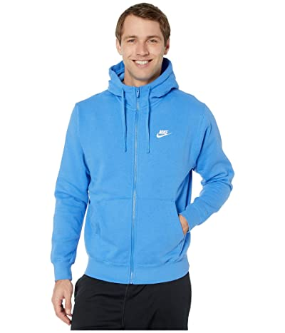 Nike NSW Club Hoodie Full Zip (Pacific Blue/Pacific Blue/White) Men