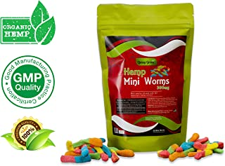 Hemp Mini Worms Gummies 300mg- 20mg per Serving- 30 ct- Full Spectrum Organic Hemp Extract - Relaxing, Pain Relief, Stress & Anxiety Relief - Sleep Better by Living Green (Mini Worms)
