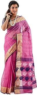 SareesofBengal Women's Jamdani Pink Handloom Tangail Cotton Bengal Tant Saree