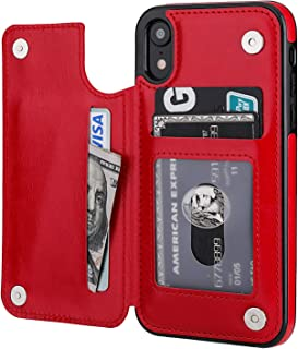 iPhone XR Wallet Case with Card Holder,OT ONETOP Premium PU Leather Kickstand Card Slots Case,Double Magnetic Clasp and Durable Shockproof Cover for iPhone XR 6.1 Inch(Red)
