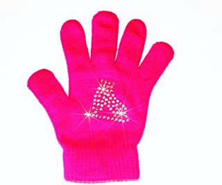 Neon Ice Skating Gloves with Skate Design