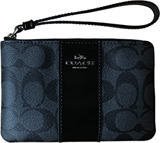 0badea6a33fde Coach Signature PVC Leather Corner Zip Wristlet (Black Smoke Black)