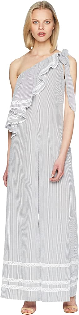 Striped Cotton Jumpsuit Cover-Up