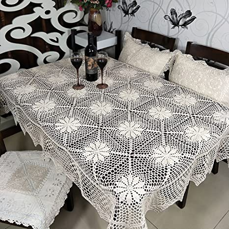70s  Swedish  Natural cotton hand crochet tablecloth 220 cm x 220 cm Vintage white square lace table cloth Large crocheted tablecloth