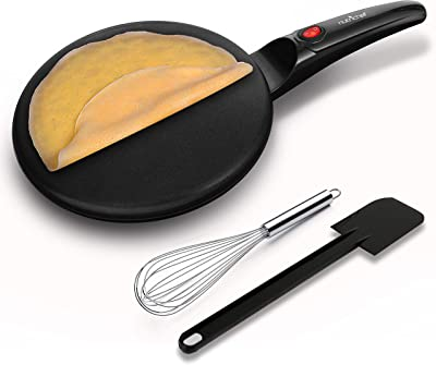 NutriChef Electric Griddle Crepe Maker - Pan Style Hot Plate Cooktop with ON/OFF Switch, Nonstick Coating, Automatic Temperature Control & Plug-in Operation for Kitchen & Countertop - PKCRM08