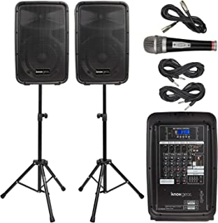 "Knox Dual Speaker and Mixer Kit – Portable 8"" 300 Watt DJ PA System with Wired.."