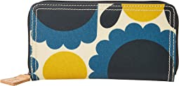 Matt Laminated Scallop Flower Spot Big Zip Wallet